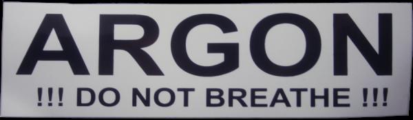 Aufkleber für Argon Flaschen