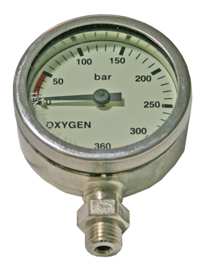 Dirzone Finimeter 52mm, 300bar Oxygen verchromt